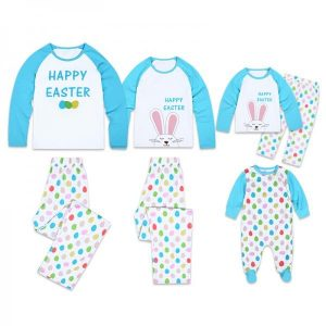 Happy Easter Colorful Eggs Printed Long Sleeve Family Matching Pajamas
