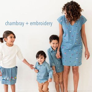 mommy and me chambray plus embroidery