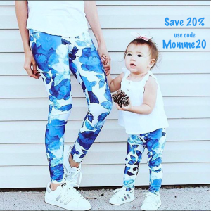 Mommy and Me Eco Friendly Blue Flowered Leggings