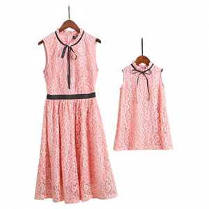 Mother Daughter Matching Pink Lace Summer Dresses