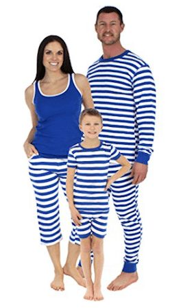 Family Matching Blue Cotton Striped Pajama Sets