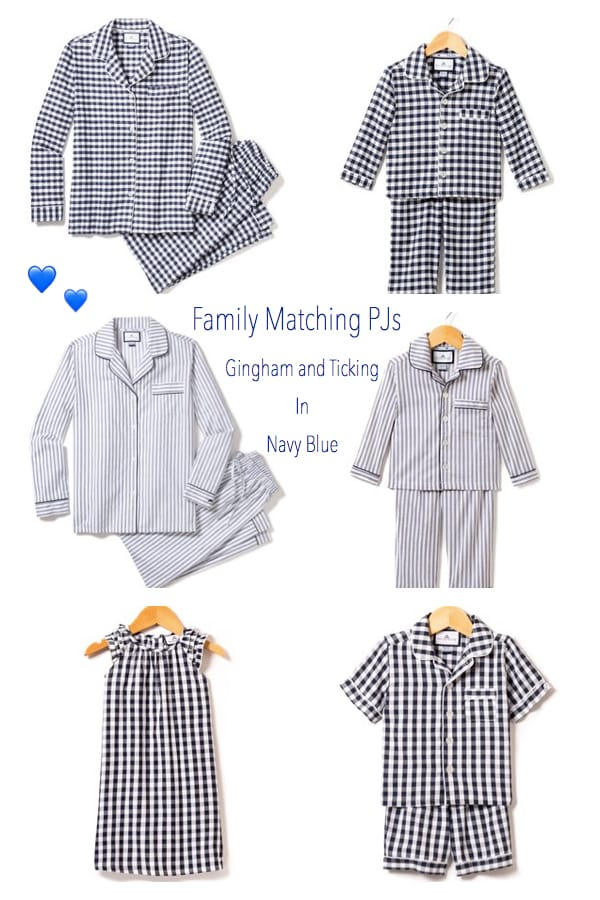 Family Matching PJs in Nayy Gingham and Ticking