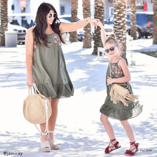 Mom And Me Embroidered Ruffled Dresses