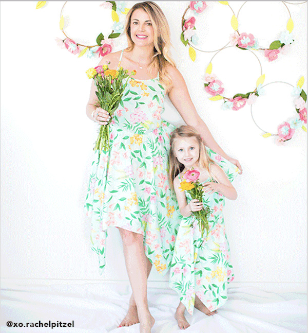 Mom and Me Tropical Floral Spring Hanky Hem Matching Dresses