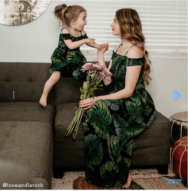 Mommy And Me Short Sleeve Tropical Leaf Print Off-Shoulder Matching Maxi Dress