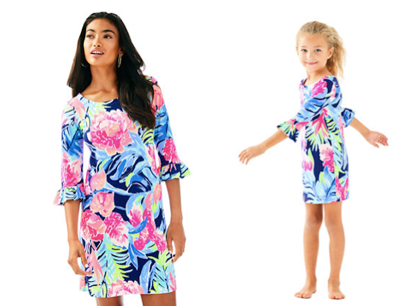 Mother Daugher Matching Lilly Pulitzer High Tide Navy Tropicolada UPF 50 Ruffle Dresses