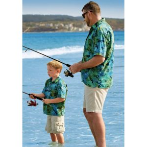 Father Son Matching Fish Batik Shirts