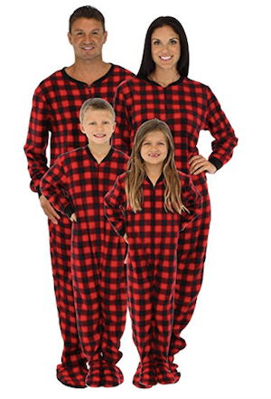 Family Matching Fleece Red Plaid Onesie Footed Christmas Pajamas