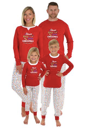 Family Matching Holly Jolly Christmas Lights Pajamas