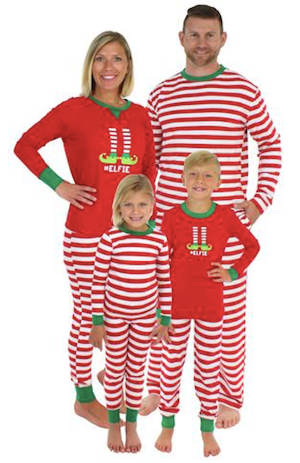 Family Matching Red Striped Elf Christmas Pajamas