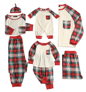 Family Matching Ivory Plaid Christmas Pajamas