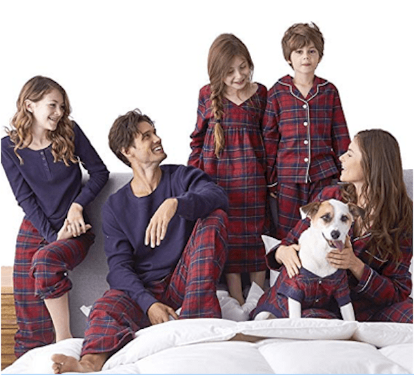 Family Matching Red and Blue Plaid Christmas Pajamas