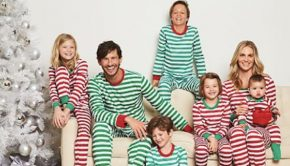 Family Matching Red and Green Striped Christmas Pajamas