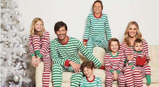 pajamas family matching red and green striped christmas pajamas