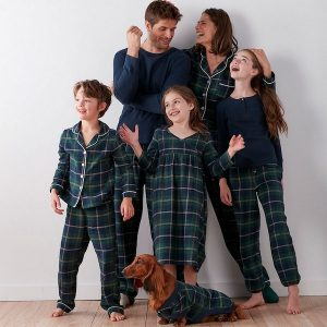 Classic Blue Plaid Family Holiday Pajamas