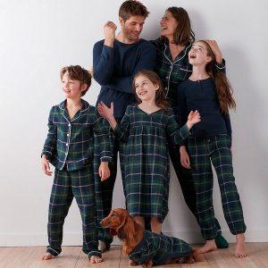 Classic Blue Plaid Family Holiday Pajamas