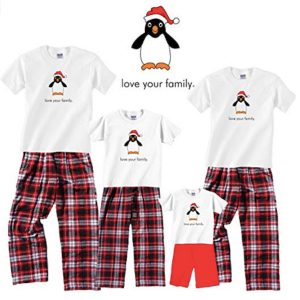 Family Matching Love Your Family Penguin Holiday Pajamas