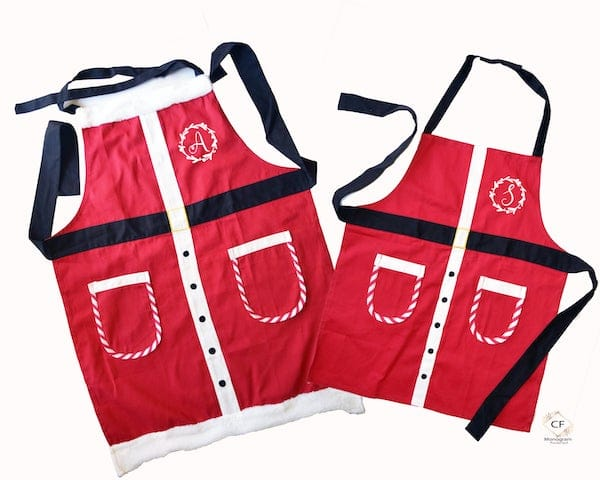 Family Matching Personalized, Santa Suit Aprons