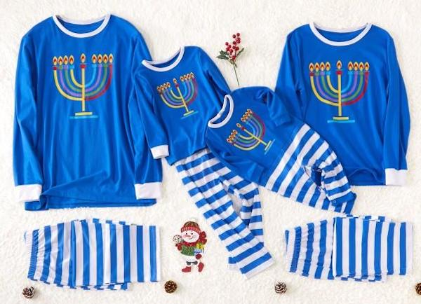 Family Menorah Pajamas for Hanukkah