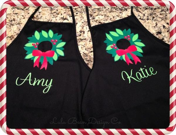 Personalized Family Matching Christmas Wreath Aprons
