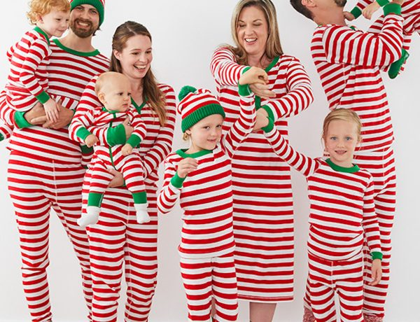 Family Matching Striped Holiday Pajamas