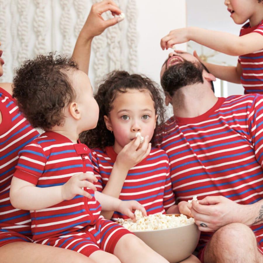 Cherry Red Stripe Matching Family Pajamas